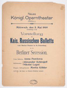 Programmzettel (Cover) der Kroll-Oper für die geschlossene Vorstellung für die Berliner Secession am 5. Mai 1909 als Auftakt des Gastspiels des Kaiserlich Russischen Balletts mit Anna Pawlowa, Deutsches Tanzarchiv Köln