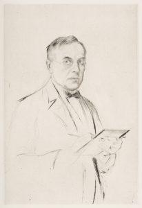 Selbstbildnis, zeichnend Radierung, 1923, Deutsches Tanzarchiv Köln
